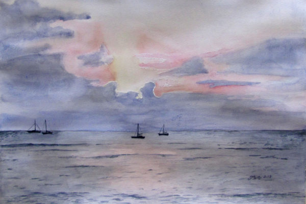 Waters off of Lahaina is a watercolor of boats on the ocean in Lahaina, Maui by artist Esther BeLer Wodrich