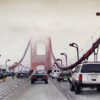 Golden Gate Bridge is a realistic watercolor painting of Golden Gate Bridge in San Francisco by artist Esther BeLer Wodrich