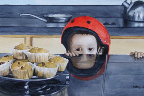 Watercolor of a small boy looking at muffins on the kitchen counter.