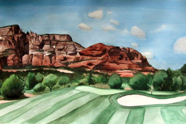 Arizona Landscape is a private commissioned watercolor painting of that includes golf course, Sedona red rocks and forest by artist Esther BeLer Wodrich