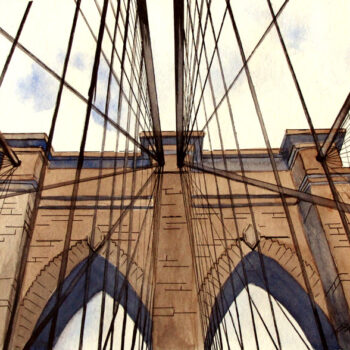 Watercolor with pen and ink of Brooklyn Bridge in New York City by artist Esther BeLer Wodrich