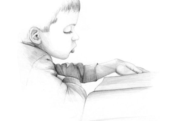Christian, Age 5 is a graphite drawing of a young boy reading a book by artist Esther BeLer Wodrich