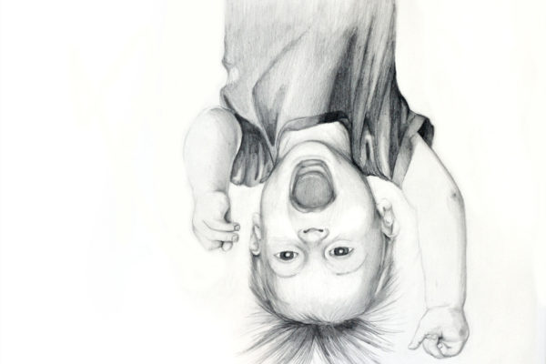 Graphite drawing of Peter, a child hanging upside down by artist Esther BeLer Wodrich