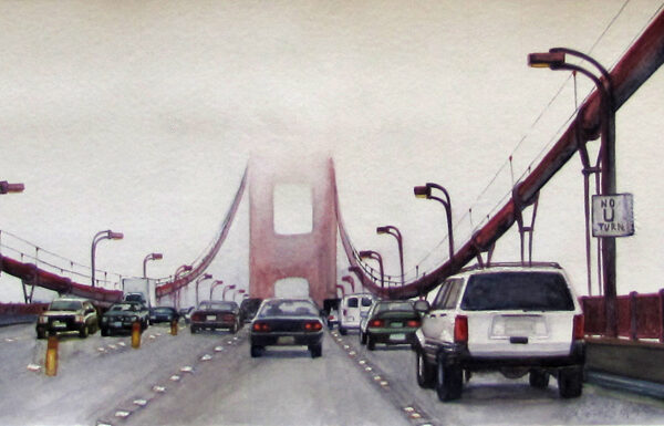 Golden Gate Bridge is a watercolor painting of the Golden Gate Bridge covered under some fog with a view from the car by artist Esther BeLer Wodrich