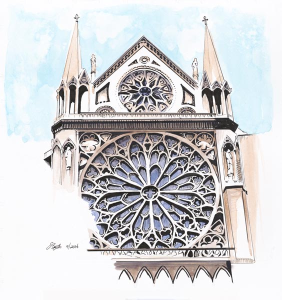Notre Dame is a watercolor, pen and ink of Notre Dame Cathedral Rose from the cathedral in Paris, France by artist Esther BeLer Wodrich