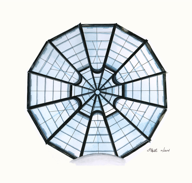 The glass ceiling of the Guggenheim museum in New York City, in watercolor, pen and ink by artist Esther BeLer Wodrich