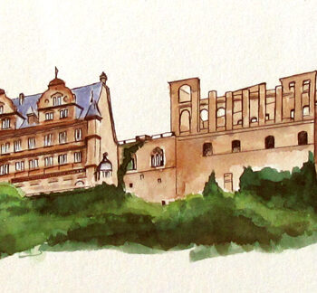 Watercolor, pen and ink architecture painting of Heidelberg Castle, Germany, by artist Esther BeLer Wodrich