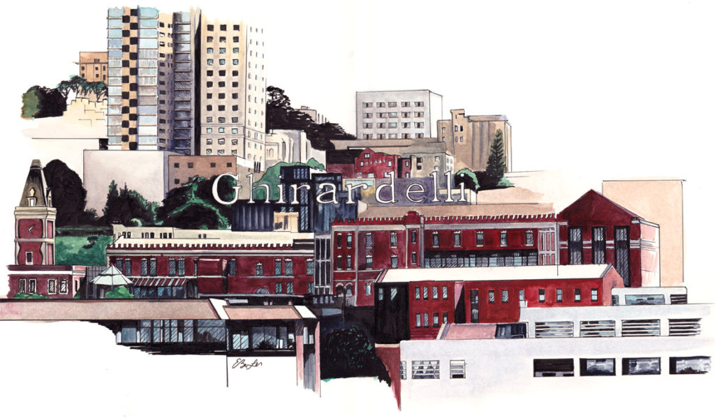 Watercolor of part of San Francisco skyline with Ghirardelli sign as focal point