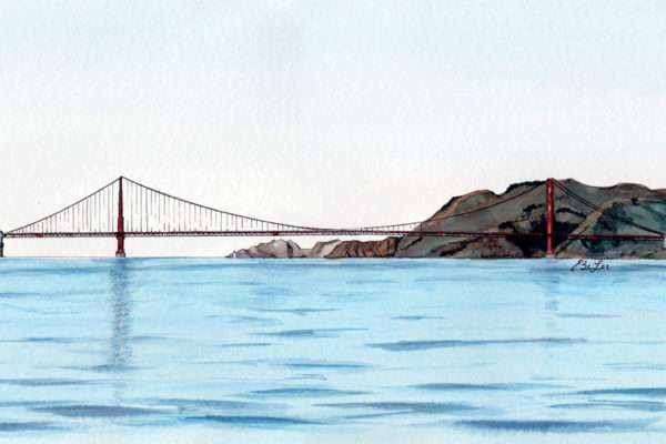 San Francisco Bay is a watercolor, pen and ink architecture painting of the Golden Gate Bridge over the San Francisco Bay by artist Esther BeLer Wodrich
