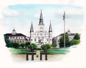 Watercolor, pen and ink painting of Jackson Square in New Orleans by artist Esther BeLer Wodrich.