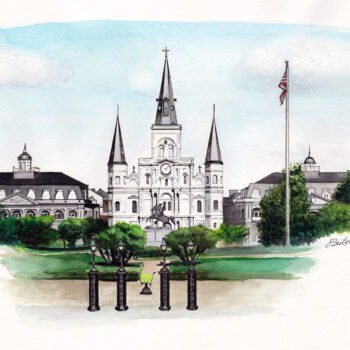 Jackson Square is a watercolor, pen and ink painting of Jackson Square in New Orleans by artist Esther BeLer Wodrich.