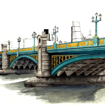 """Southwark Bridge"" is a watercolor, pen and ink architecture painting of Southwark Bridge in London, England by artist Esther BeLer Wodrich"