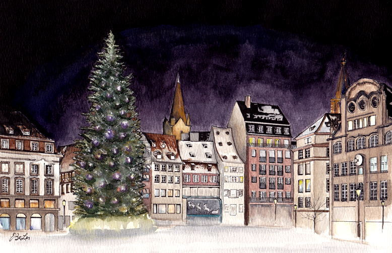 Watercolor, pen and ink of Strasbourg's Place Kleber by artist Esther BeLer Wodrich