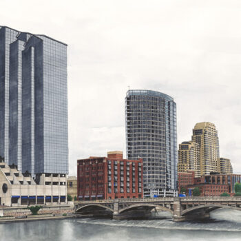 Visiting ArtPrize 2013 in watercolor, pen and ink is an architecture painting of part of downtown Grand Rapids by artist Esther BeLer Wodrich