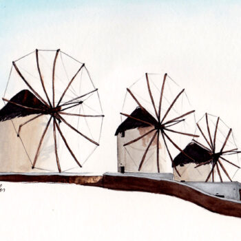 Windmills of Mykonos is a watercolor, pen and ink architecture painting of the windmills at the island of Mykonos, Greece by artist Esther BeLer Wodrich