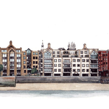 View from the Thames is a watercolor, pen and ink architecture painting of building along the bank of the Thames, including appearance of St Paul's Cathedral in London, UK. By artist Esther BeLer Wodrich
