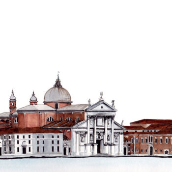 Isle of San Giorgio Maggiore is a watercolor, pen and ink architecture painting of the Isle of San Giorgio Maggiore in Venice Italy, by artist Esther BeLer Wodrich