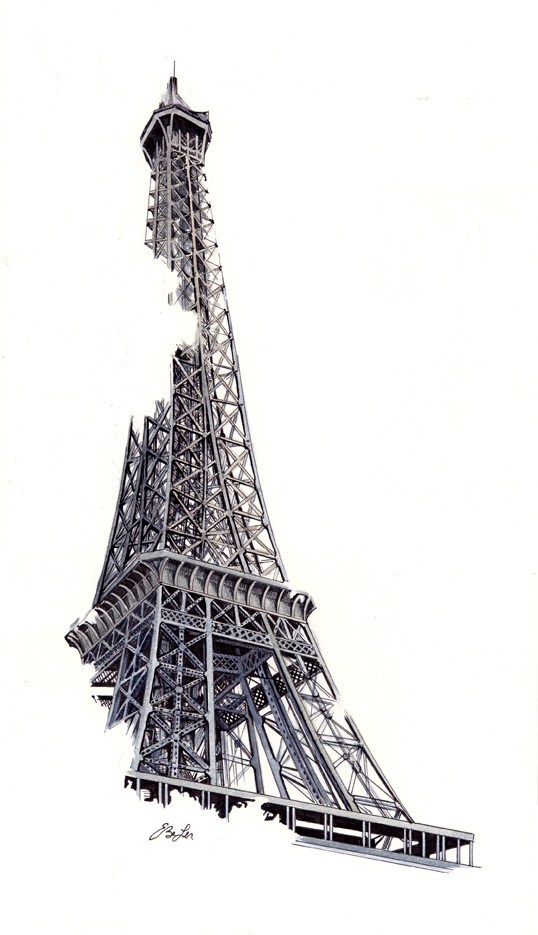 La Tour Eiffel is a watercolor, pen and ink architecture painting of the Eiffel Tower in Paris France by artist Esther BeLer Wodrich