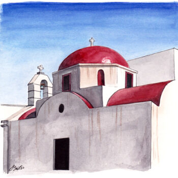 Red dome church is an architecture painting from a red church on Mykonos, Greece by artist Esther BeLer Wodrich