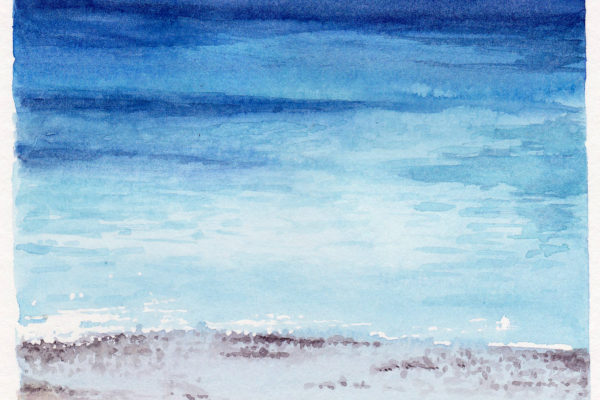 The Water on Mykonos is a watercolor painting of sand and ocean at a beach in Mykonos Greece by artist Esther BeLer Wodrich