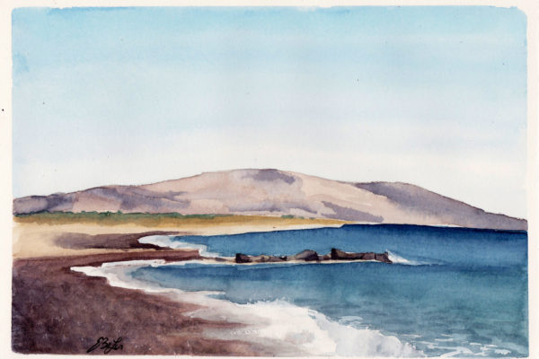 Crete is a watercolor painting of the bach and ocean with a view of the mountain on the island of Crete in Greece by artist Esther BeLer Wodrich