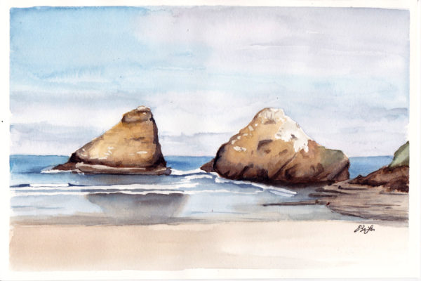 Oregon Rocks is a watercolor painting of large rocks in the ocean by the beach in Oregon by artist Esther BeLer Wodrich