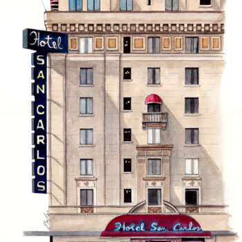 Watercolor, pen and ink architecture painting of the Hotel San Carlos in Phoenix, AZ by artist Esther BeLer Wodrich