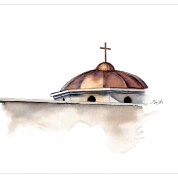 Dome of the Diocese of Phoenix is a watercolor, pen and ink painting of the copper dome of the Roman Catholic Diocese of Phoenix by artist Esther BeLer Wodrich.