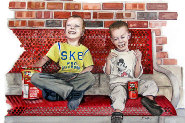 """Brothers"" is a watercolor painting of two boys enjoying snacks on a red bench by artist Esther BeLer Wodrich"