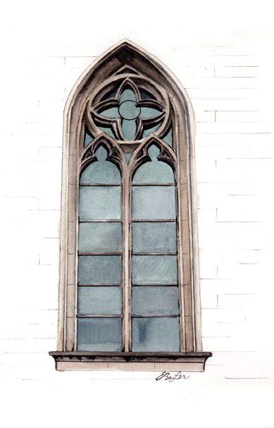 Architecture watercolor, pen and ink painting artwork of a window portion of the Metropolitan Cathedral of São Paulo, Brazil. Art by artist Esther BeLer Wodrich.