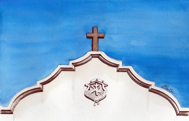 Above the Entrance to St Mary's is an architecture watercolor, pen and ink painting of the bright blue sky and top of Phoenix's St Mary's Basilica by artist Esther BeLer Wodrich