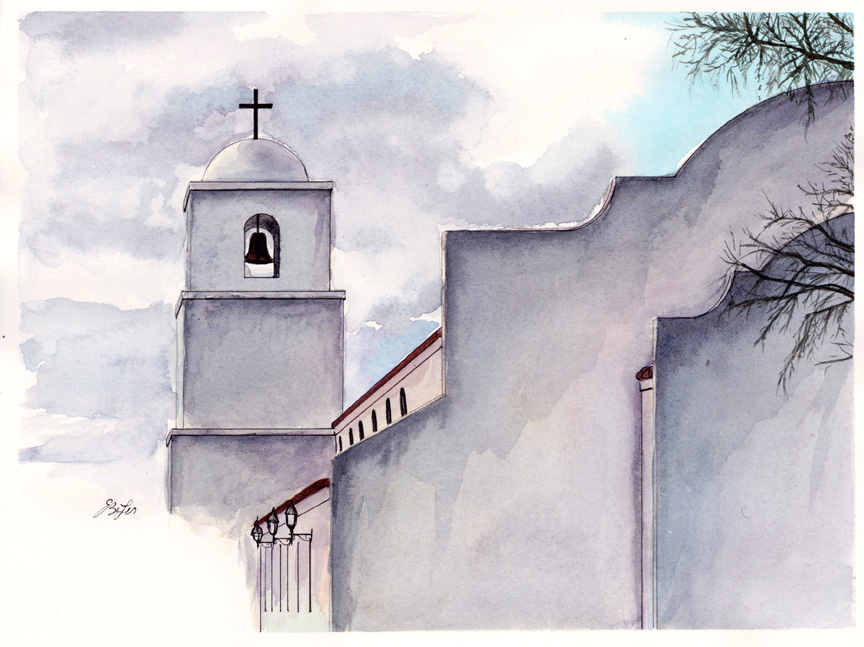 """""""Clouds Over King of Kings"""" is a watercolor, pen and ink of part of the back side of King of Kings church in Goodyear, Arizona by artist Esther BeLer Wodrich."""