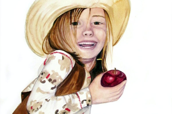 Cow Belle is a watercolor painting on aquabord of a little girl in a cowboy hat and dog pajamas holding an apple by artist Esther BeLer Wodrich
