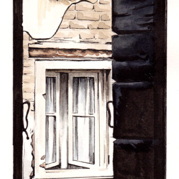 Venetian View is a watercolor, pen and ink architecture painting of view outside a hotel window in Venice, Italy by artist Esther BeLer Wodrich
