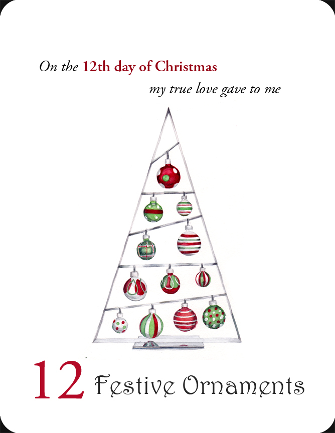 The 12th in a set of the 12 Days of Christmas, 12 Festive Ornaments