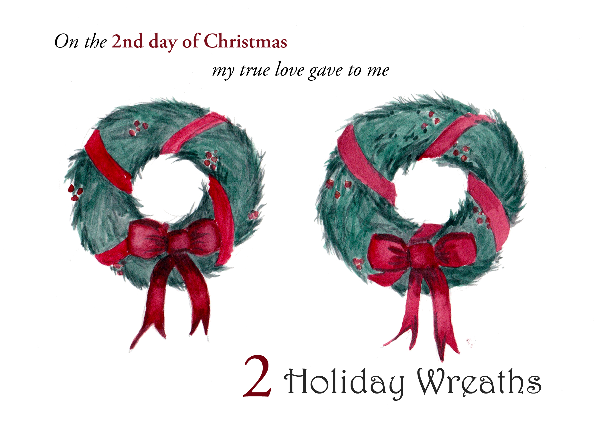 The 2nd folded card in a set of the 12 Days of Christmas small note cards is 2 Hanging Wreaths