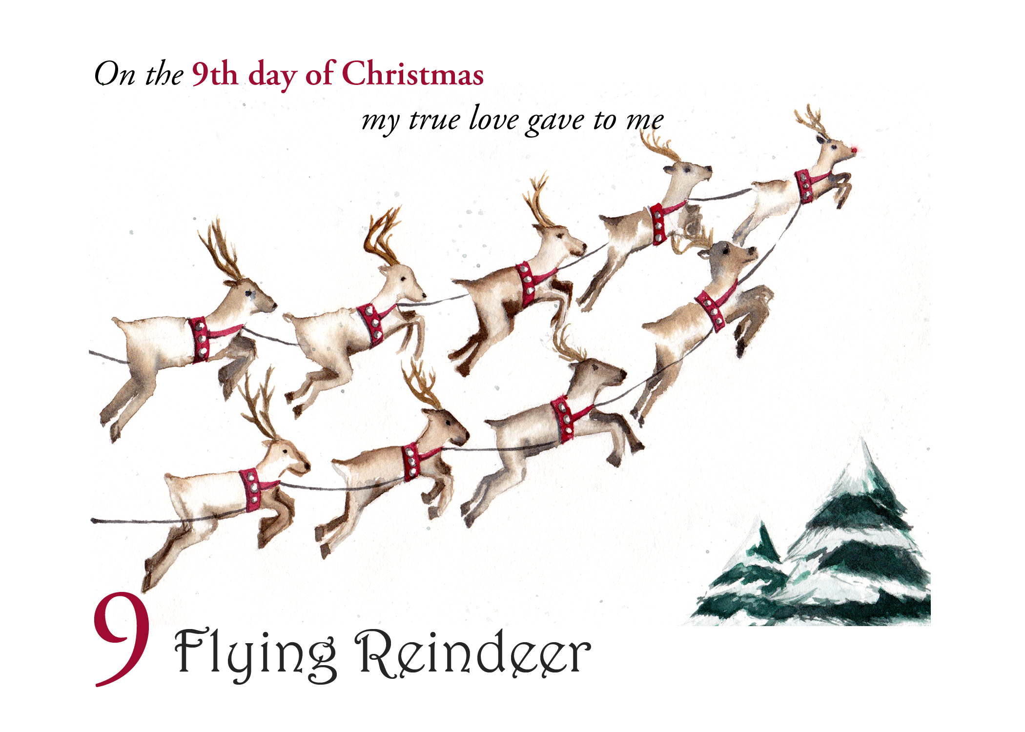 The 9th folded card in a set of the 12 Days of Christmas, 9 Flying Reindeer
