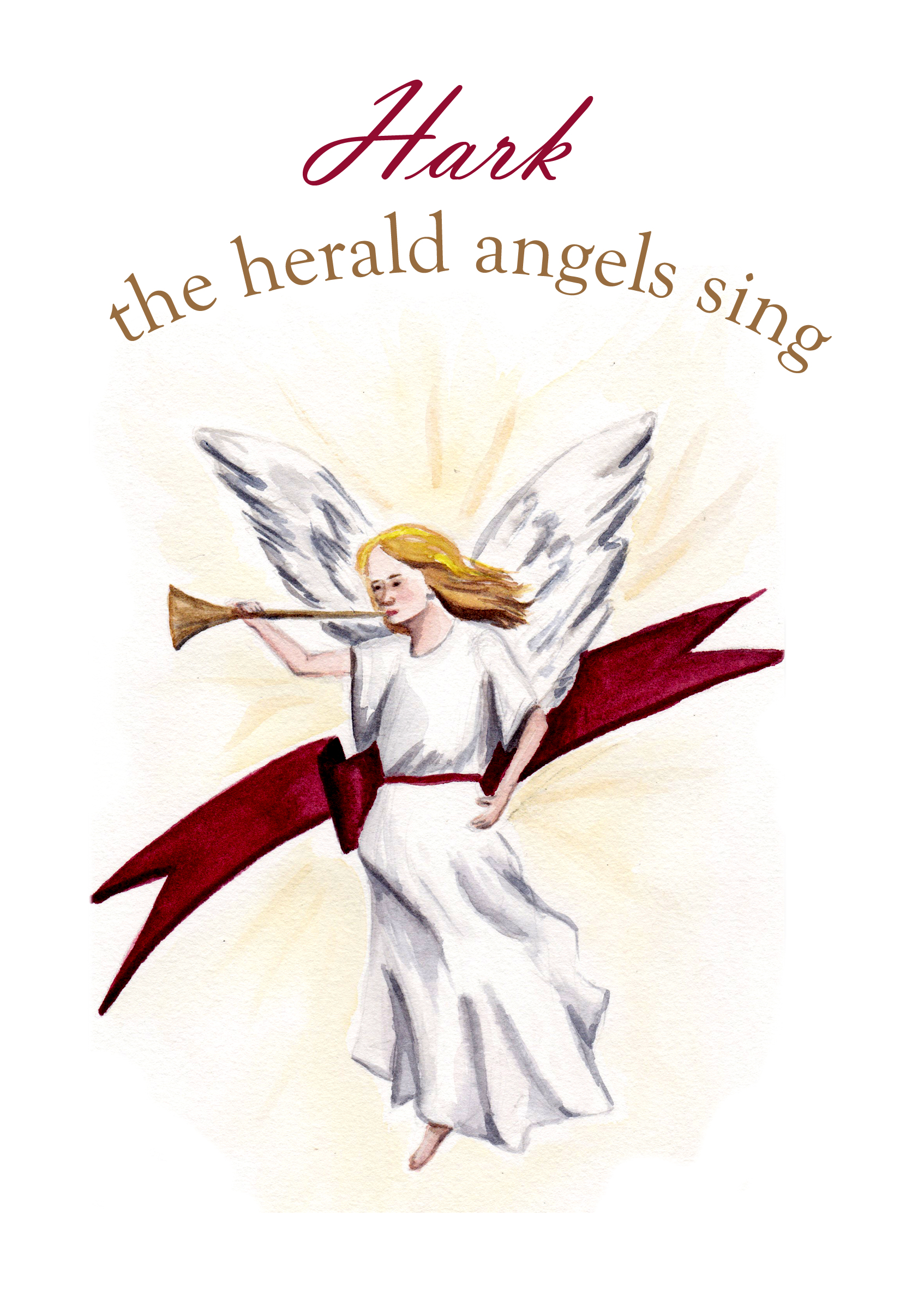 Hark the herald angels sing Christmas Card from a watercolor illustration by artist Esther BeLer Wodrich