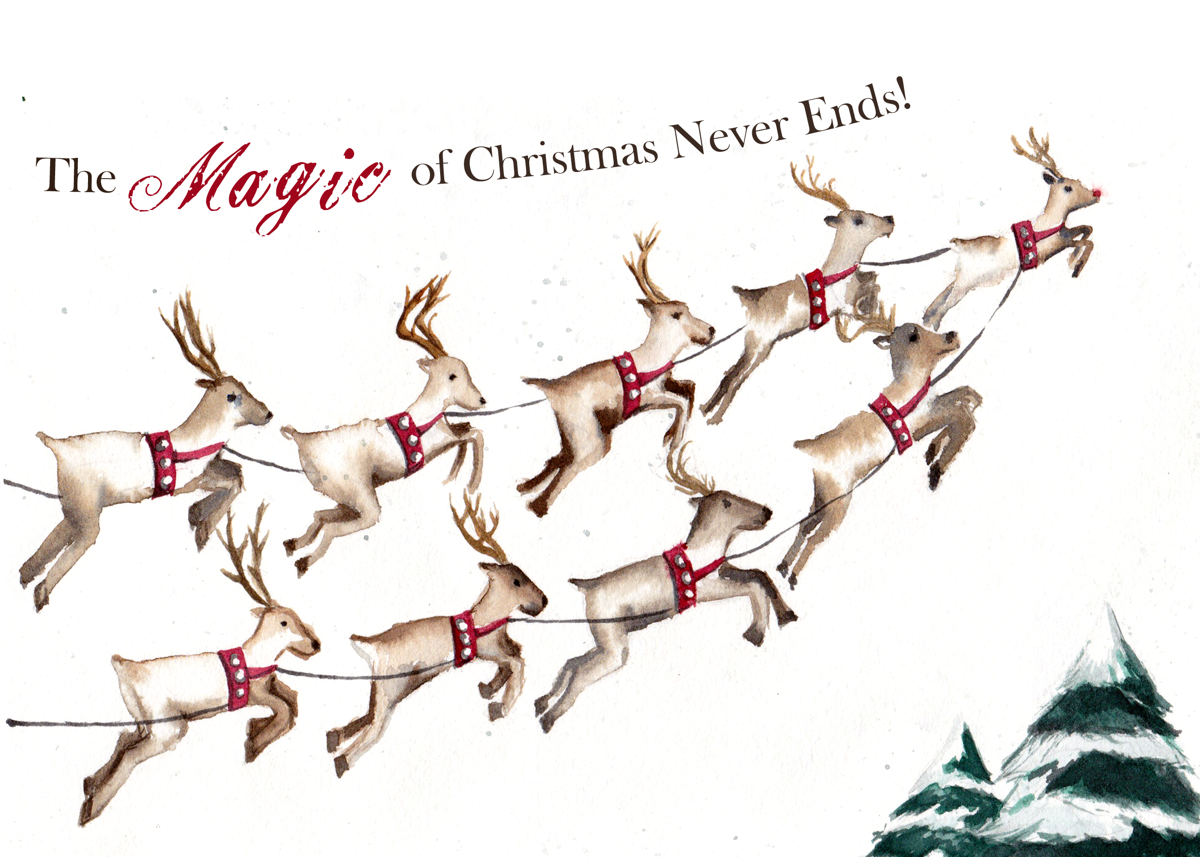 """""""The Magic of Christmas Never Ends"""" is a watercolor painting of 9 flying reindeer printed on premium cardstock by artist Esther BeLer Wodrich"""
