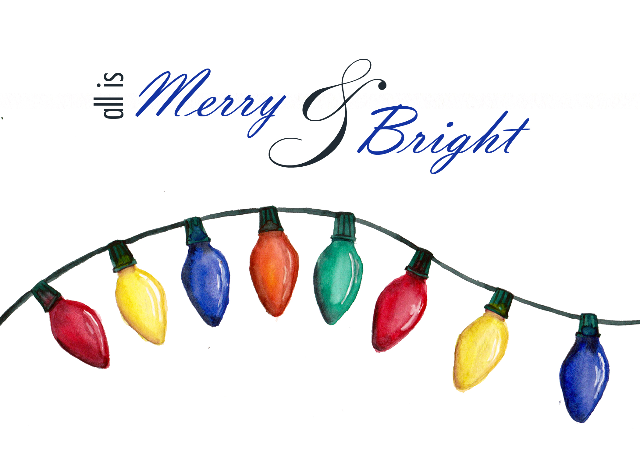 """All is Merry & Bright"" is a set of 12 Christmas cards with painted Christmas lights on the front"