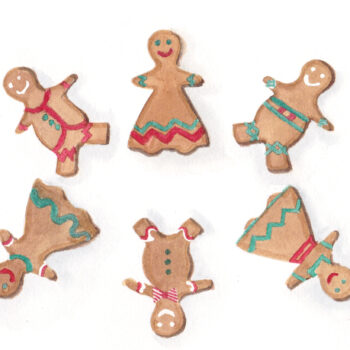 """6 Gingerbread People"" is an original watercolor of 6 gingerbread cookie men and women from the 12 Days of Christmas series by artist Esther BeLer Wodrich"