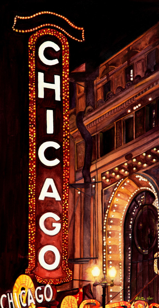 Watercolor painting of the Chicago Theatre, a reminder of the artist's graduation ceremony which took place there.