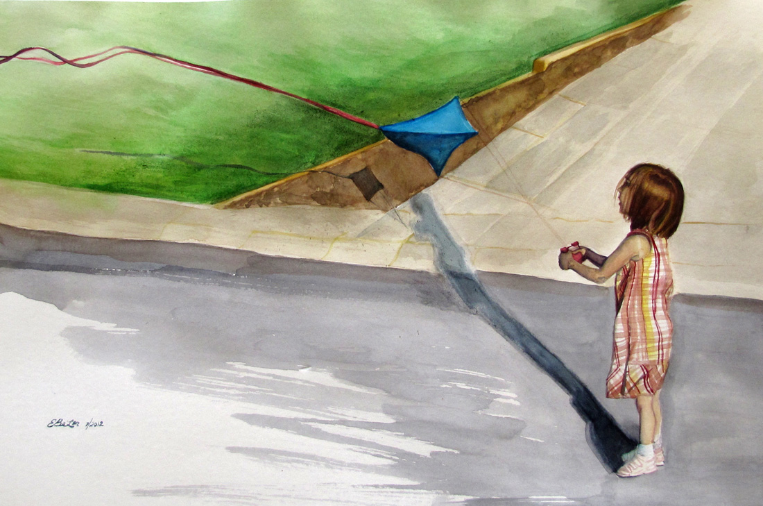 A watercolor of a young girl flying a kite in the middle of the road.