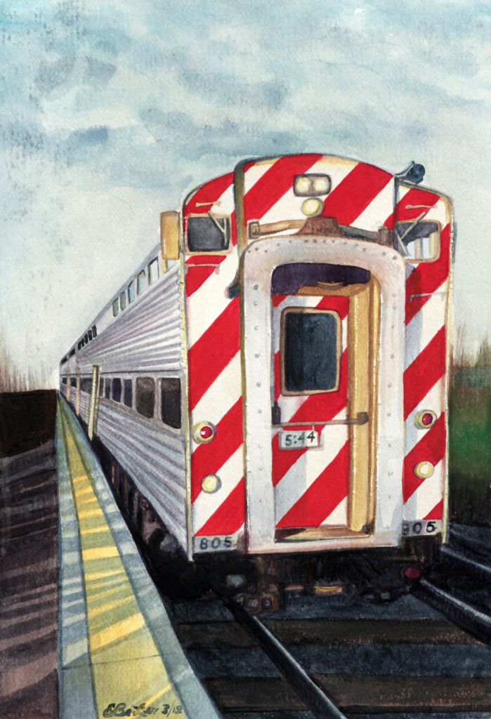 A watercolor painting of a BNSF commuter training leaving Naperville and heading to Chicago.