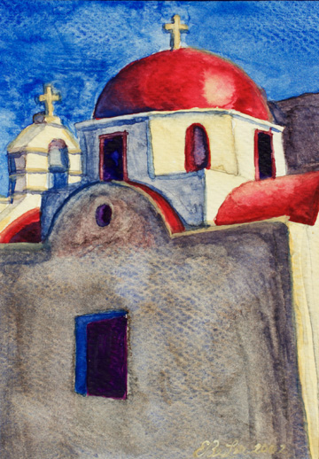 Small watercolor drawing of a red roofed church in Mykonos, Greece