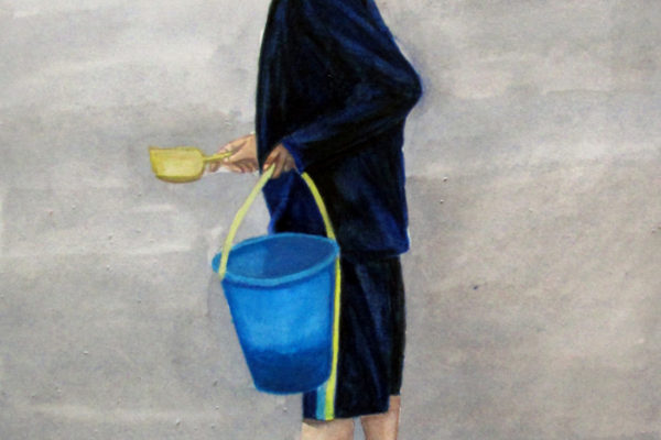 Watercolor of a boy at the beach in San Diego holding a bucket and shovel.