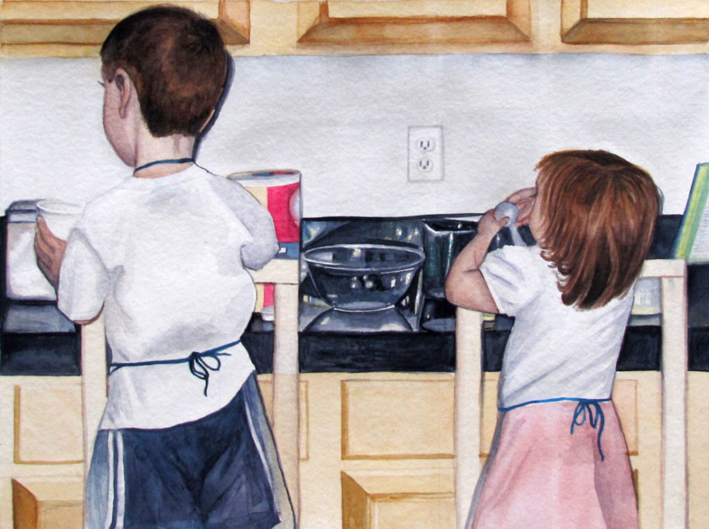 Watercolor painting of two children helping cook in the kitchen.