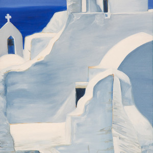 Church in Mykonos is an oil painting of the white Church of Panagia Paraportiani in Mykonos set back against blue sky and sea by artist Esther BeLer Wodrich