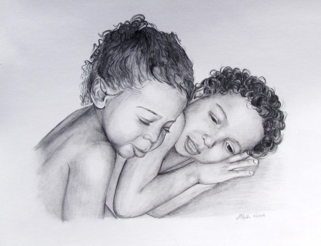 A privately commissioned graphite drawing of the Neal children.