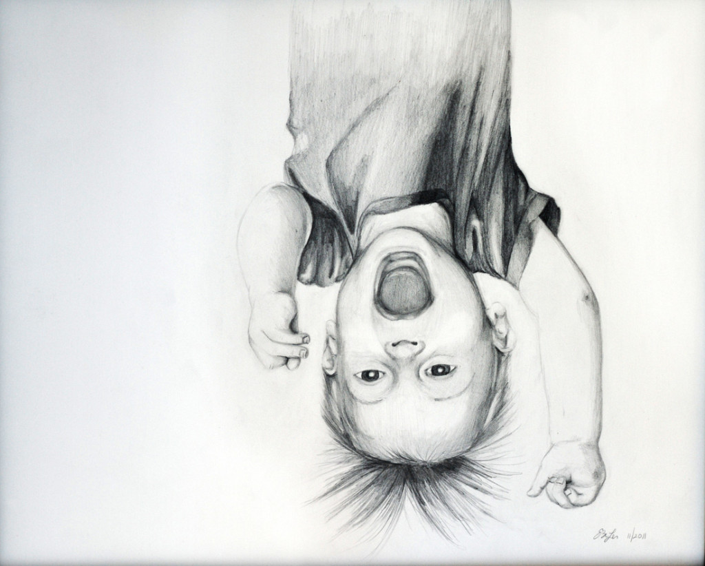 A graphite drawing of Peter at 10 months old.
